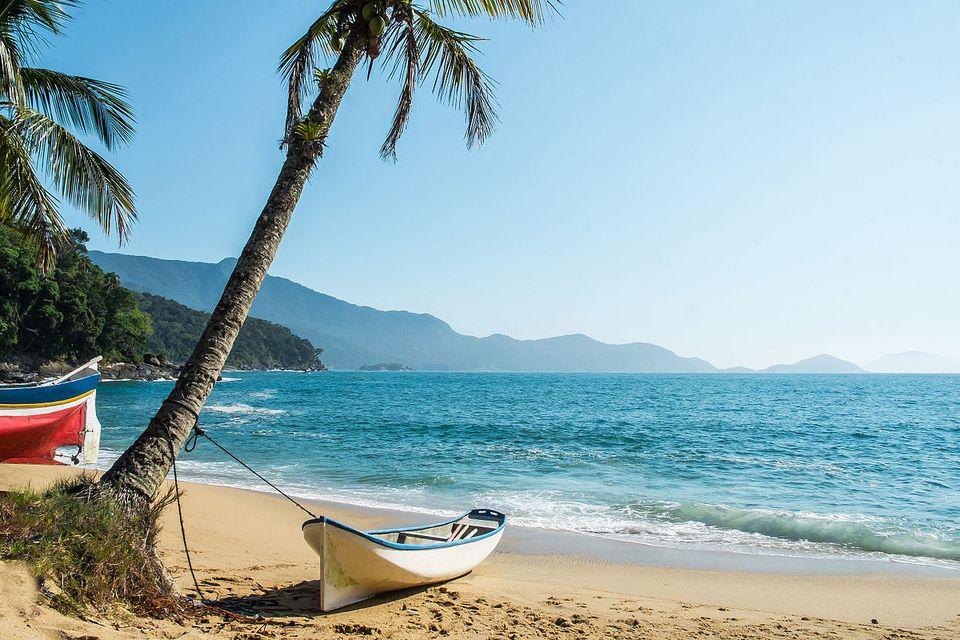 Ilha Bela travel - boat tied to a palm tree on a beach