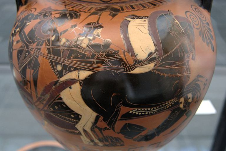Gigantomachy. Hermes and Ares in a chariot, Athena next to them, and trampled Giant.
