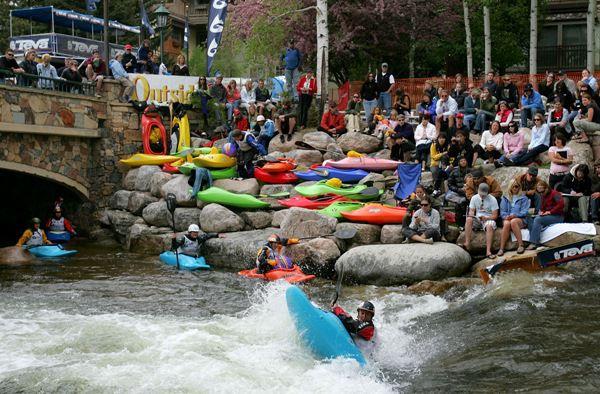 Kayaking at the Teva Mountain Games in Colorado.