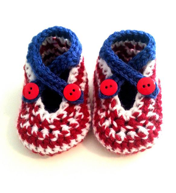 Crochet Flag Baby Shoes Free Pattern