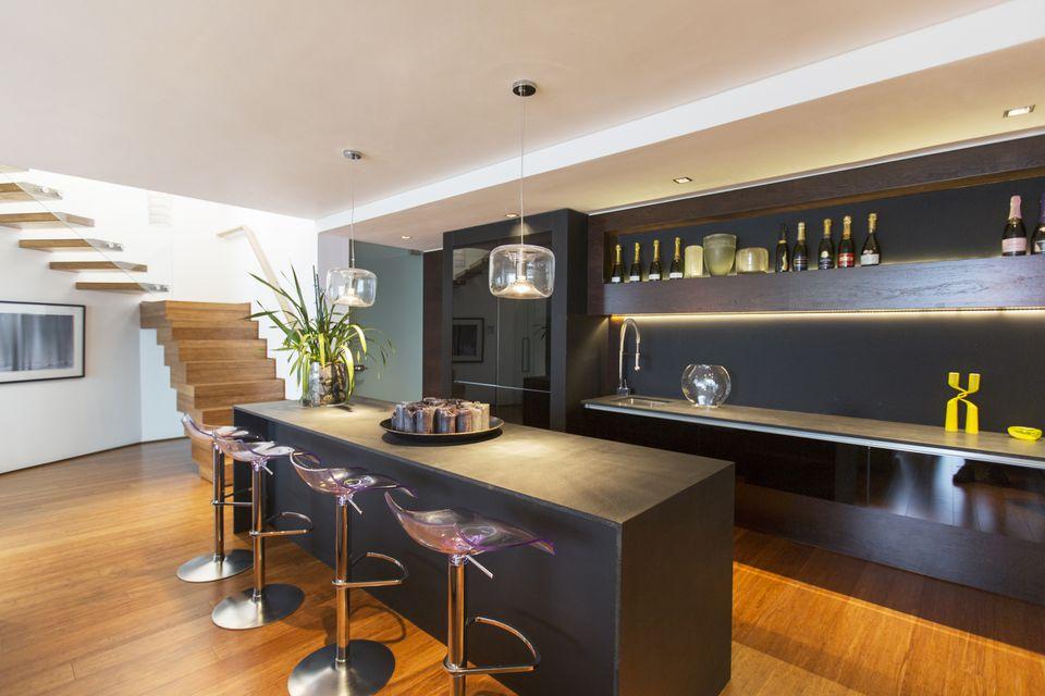 Awesome Modern Black Home Bar