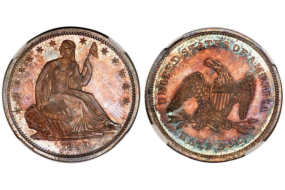 1839 United States half dollar graded PR-65 by NGC