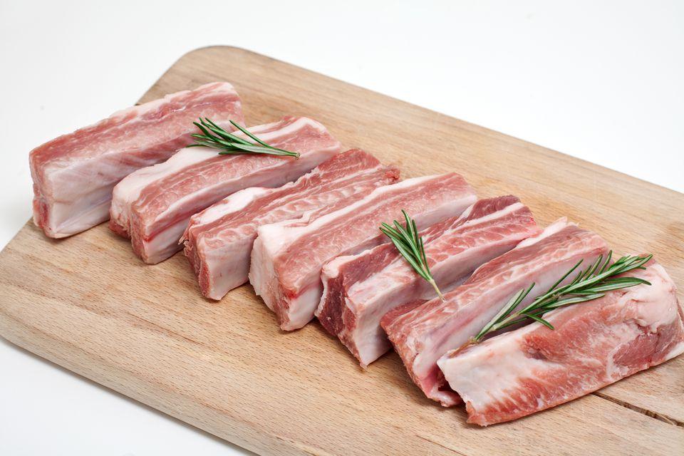 Raw Pork Ribs Cut Apart