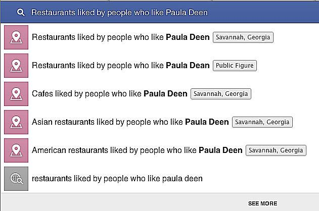Facebook restaurant search