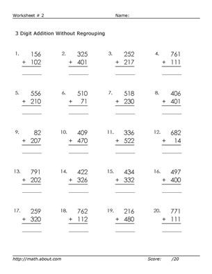 3 Digit Addition Worksheets (Without Regrouping)