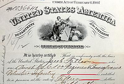 Original pension certificate, Jacob Faller, Company C., 100th Regiment PA Volunteer Infantry