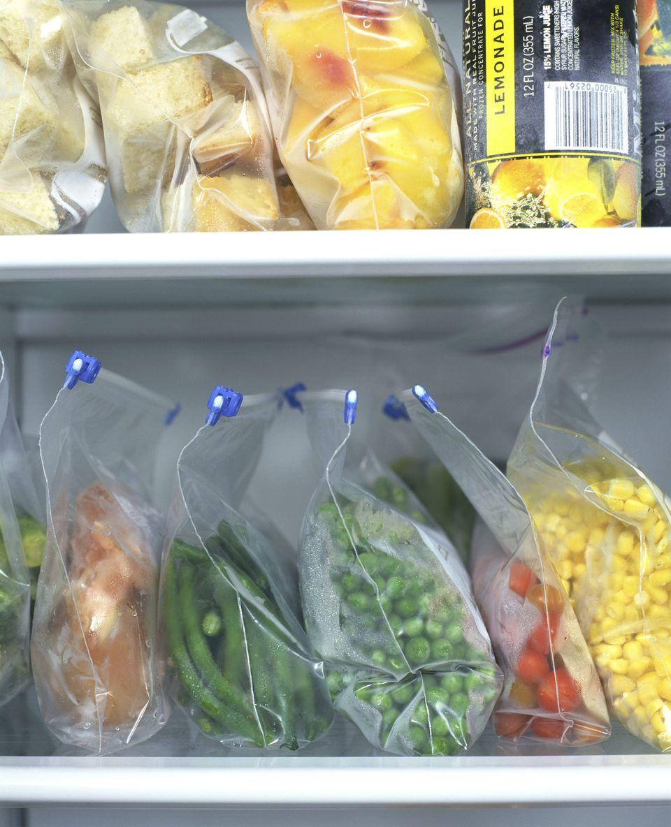 Frozen foods stored in a freezer