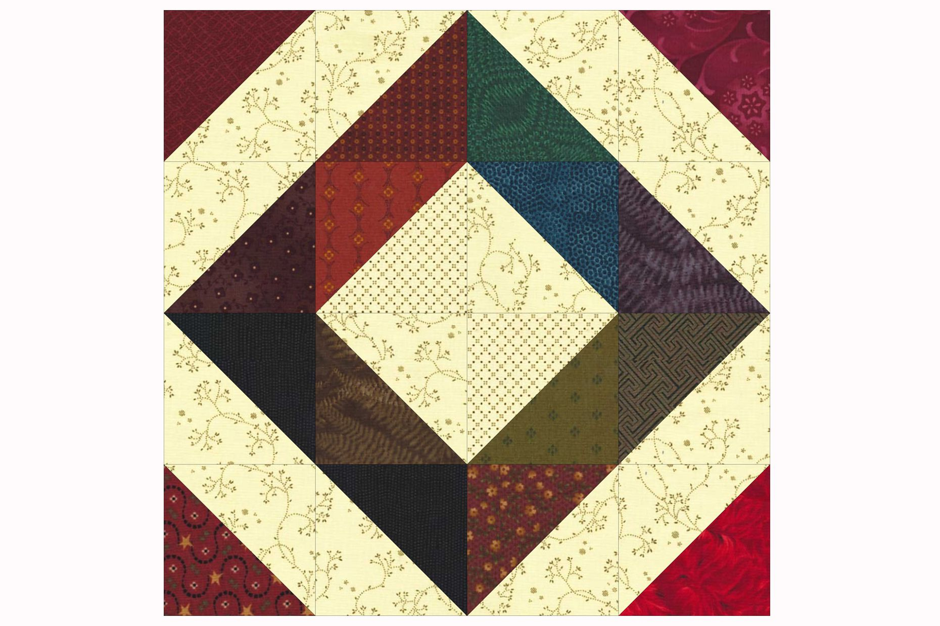 Easy Scrap Quilt Block Patterns : Easy Patchwork Scrap Quilt Block Pattern