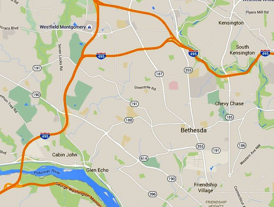 Bethesda Maps Downtown And The Surrounding Area - Maryland map bethesda