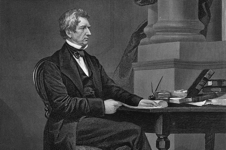 Engraved portrait of a seated William H. Seward