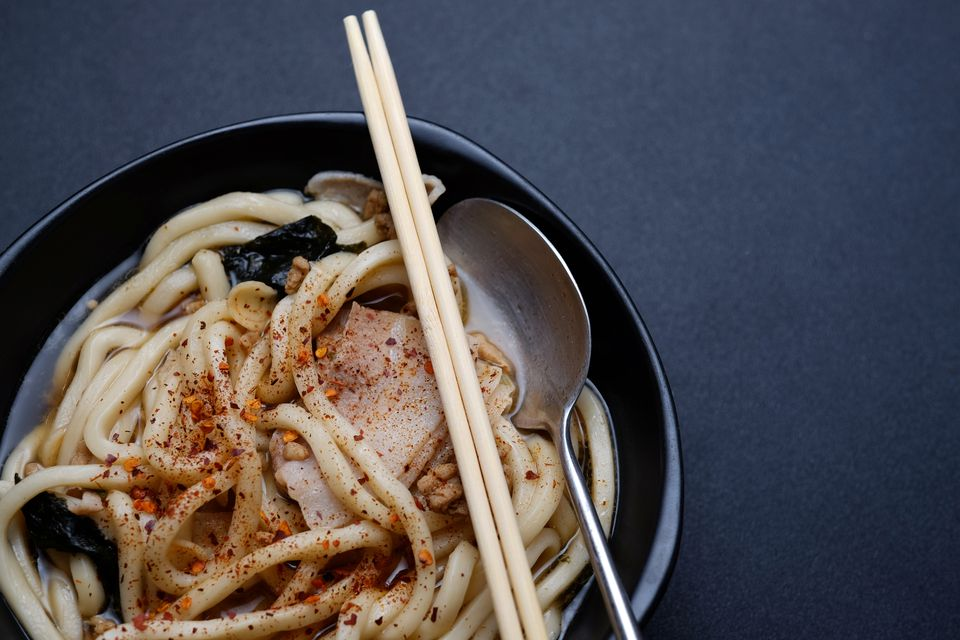 Close up to udon bowl