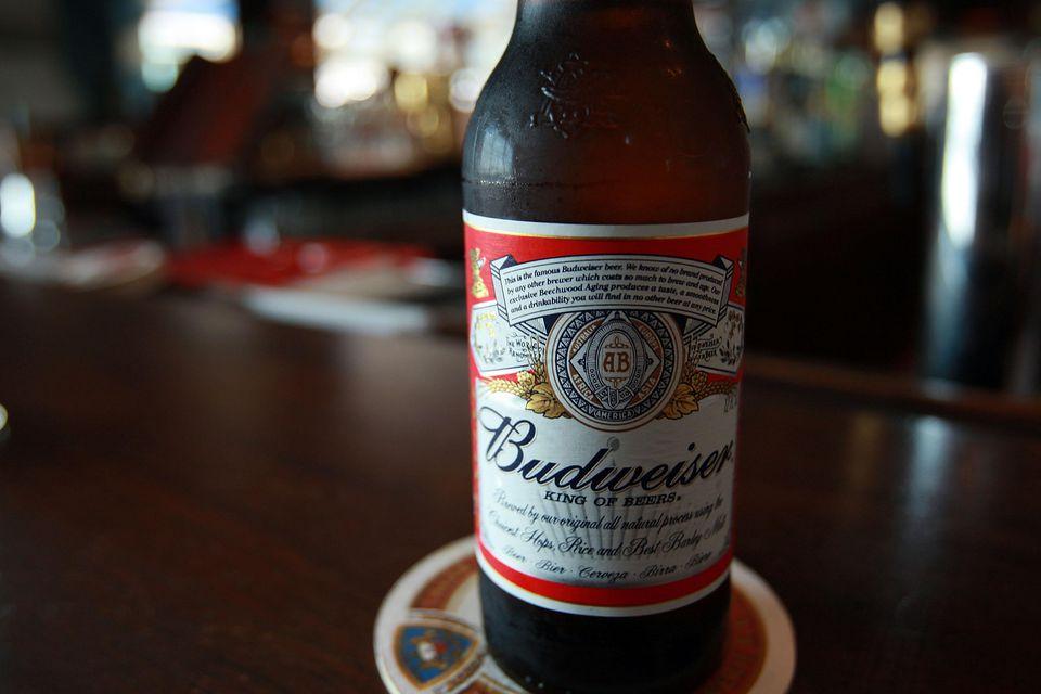 A bottle of Budweiser beer