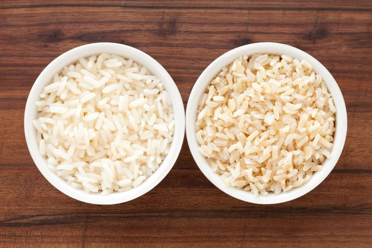 White and brown rice bowls