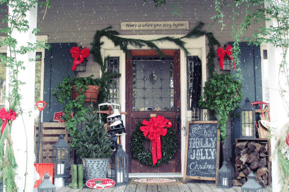 holly jolly christmas front porch - Christmas Porch Decor