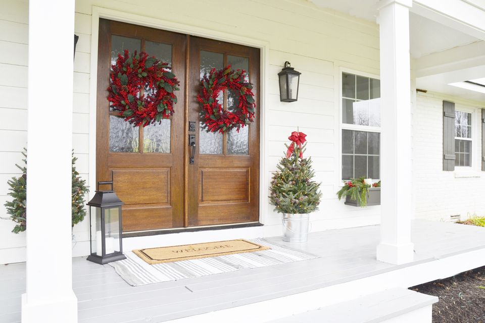 White christmas front porch