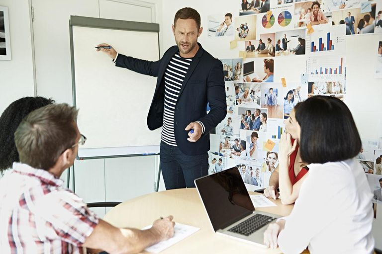 Business Man Presenting Project To Coworkers In A Creative Working Space