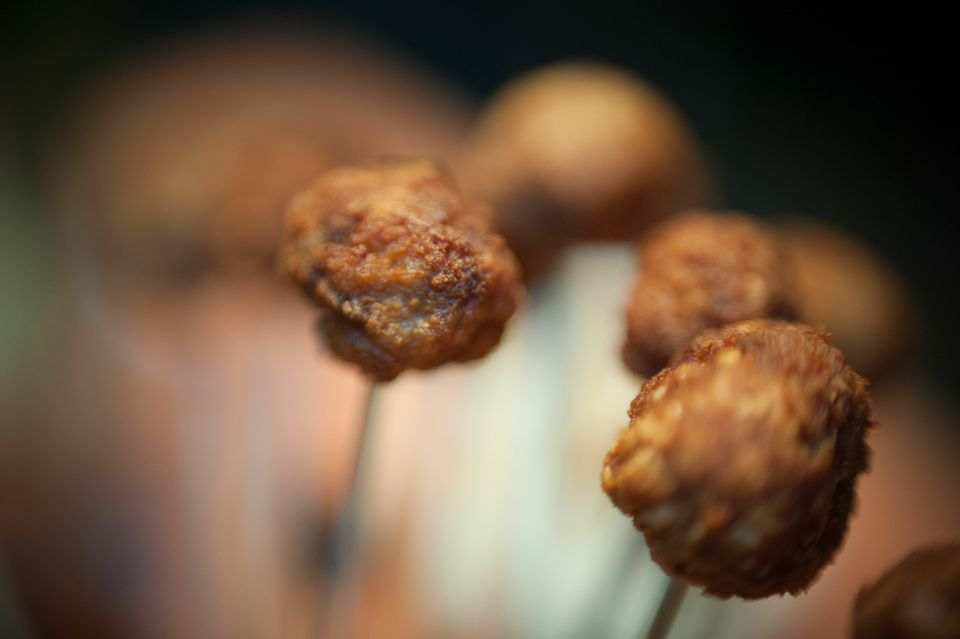Close-up of meatballs with skewers