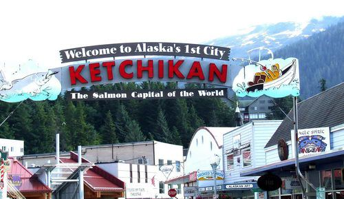 Welcome to Ketchikan Sign Greets Cruise Passengers to Ketchikan, Alaska