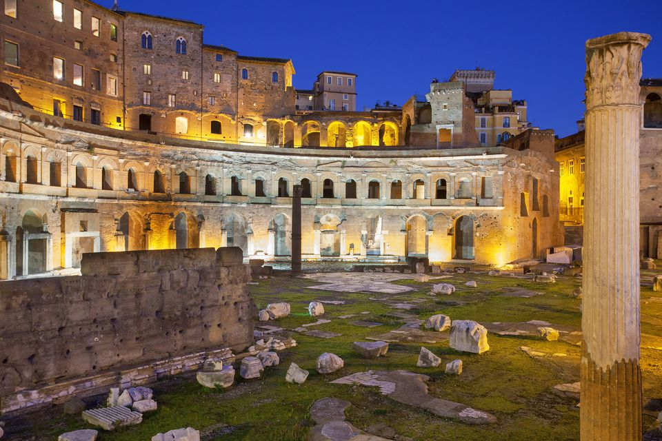 Trajan's Market, Rome lit up at night