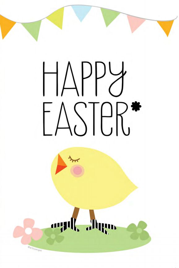 a happy easter card with a chick on it
