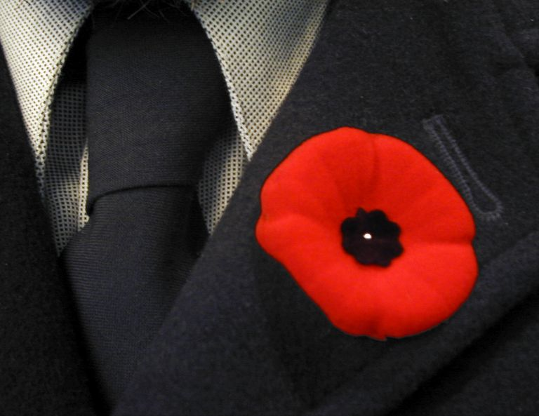 poppy flower in lapel