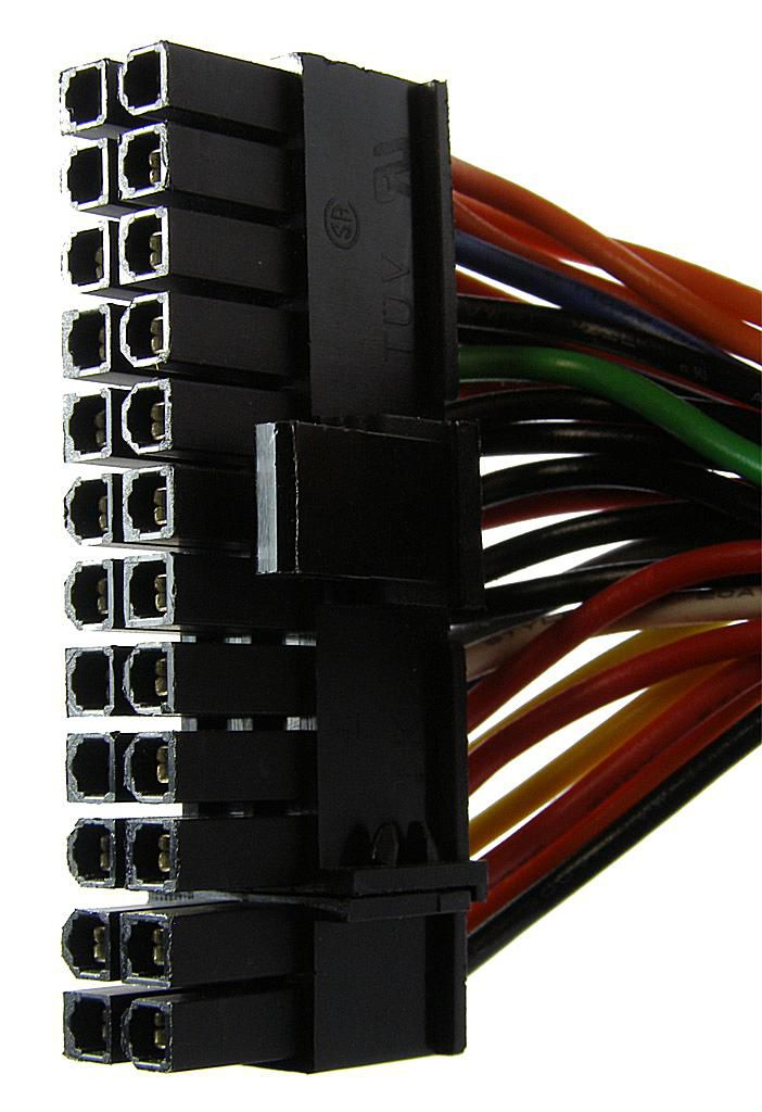 Picture of a 24 Pin Motherboard Power Connector