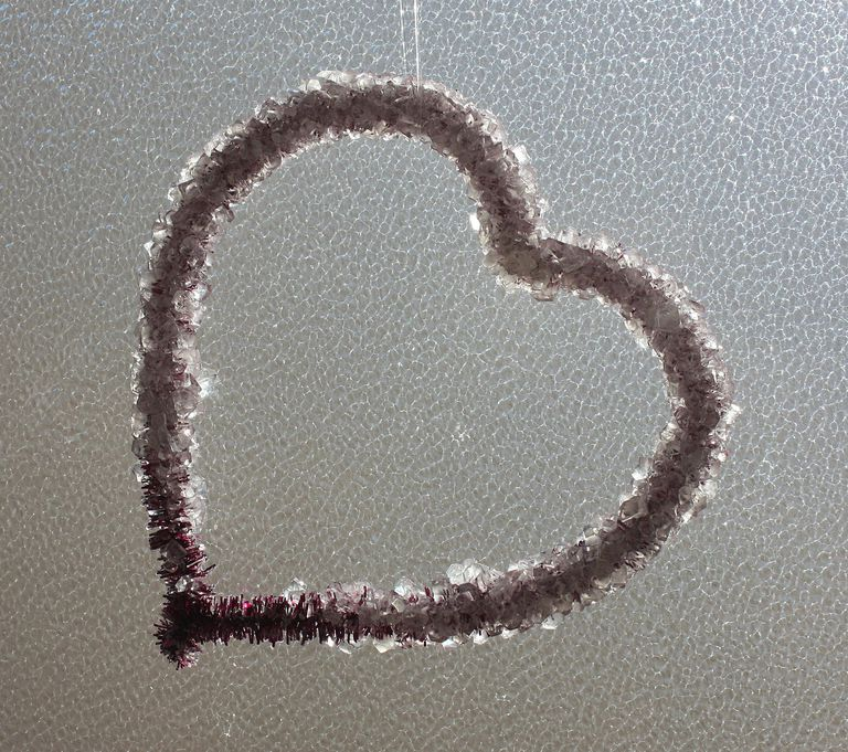 Grow sparkling borax crystals over a chenille heart to make a beautiful crystal heart.