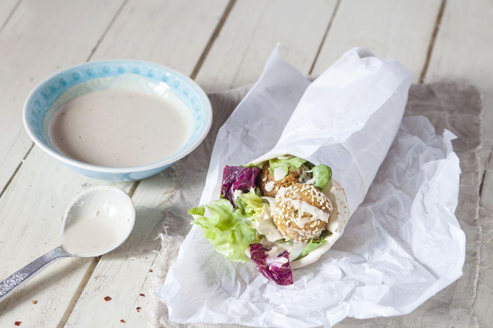 Homemade Falafel With Lettuce Tahini Sauce In Flat Bread Dueruem