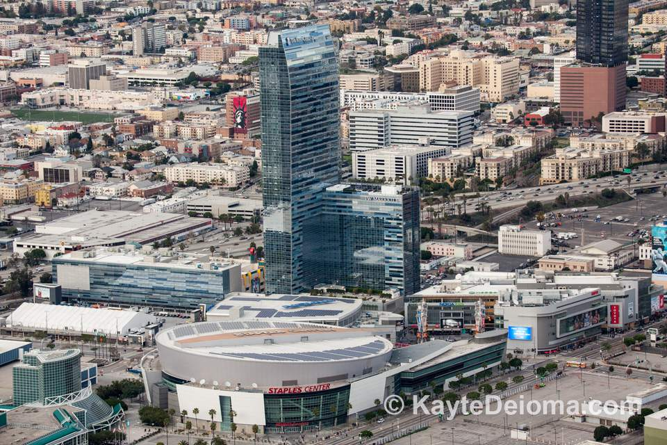 Aerial View of LA Live in Los Angeles