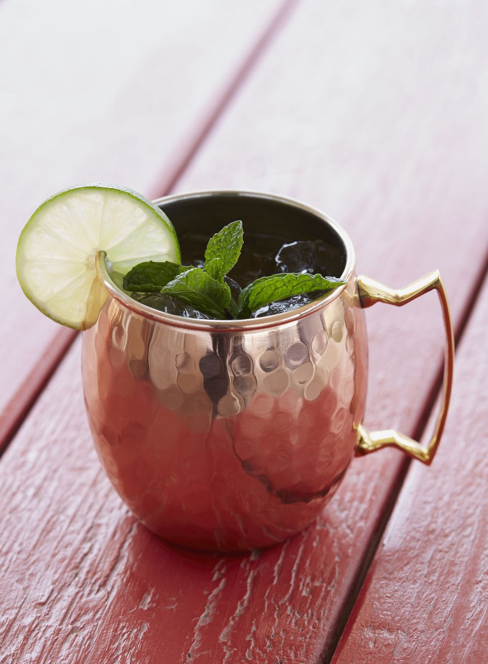 Moscow mule cocktail in silver mug