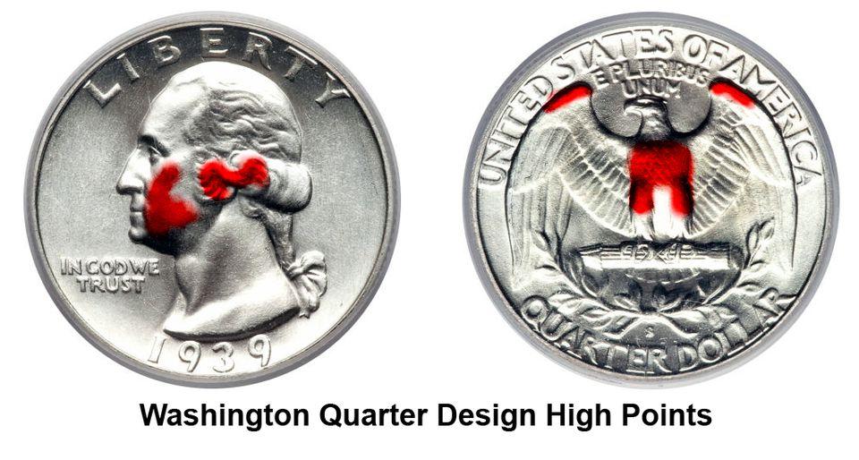 Design High Points on a Washington Silver Quarter (1932 - 1964)