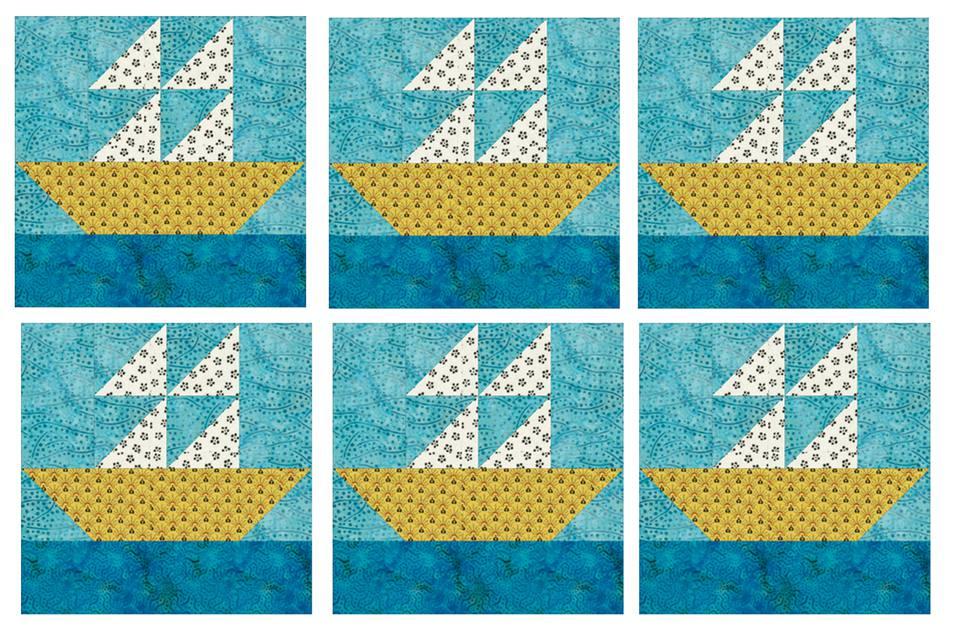 Sailboats Quilt Block Pattern