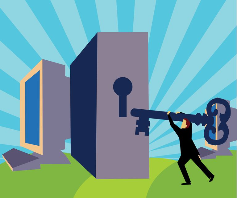 Illustration of a man trying to unlock a computer with a giant key
