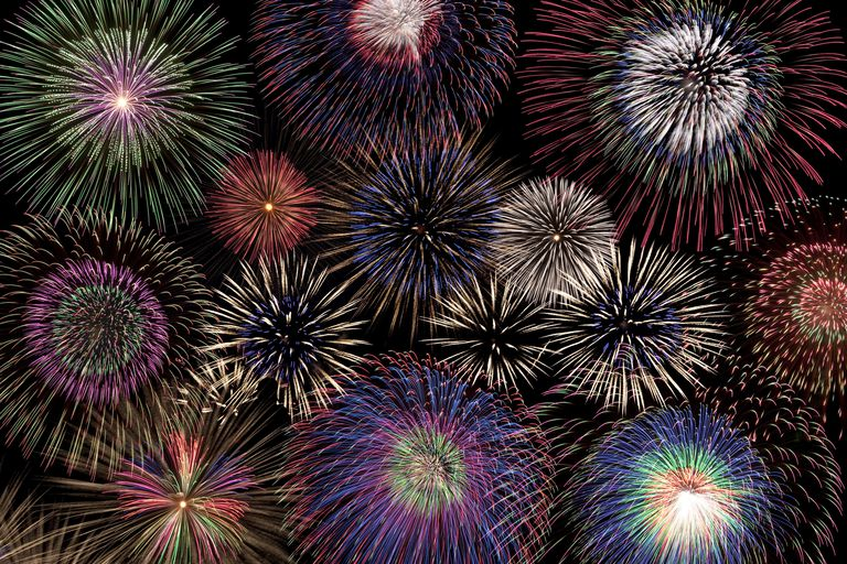 This fireworks display showcases a variety of colors. Most colors come from the excitation of metal ions.