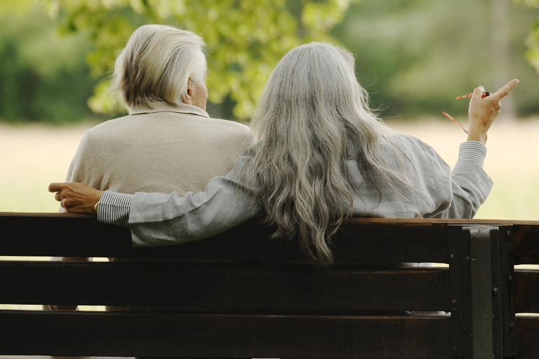 Older couple on a park bench