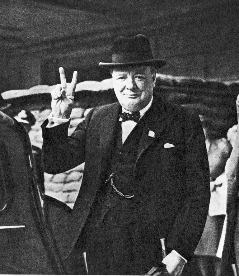 British Prime Minister Winston Churchill showing the V for Victory sign.