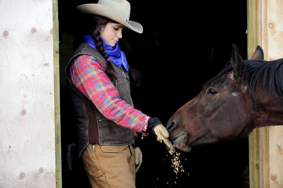 Cowgirl feeding oats to a horse, Saskatchewan, Canada, North America