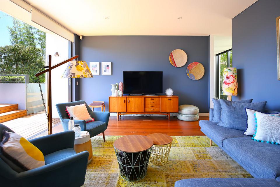 Blue living room ideas for Grey yellow orange living room