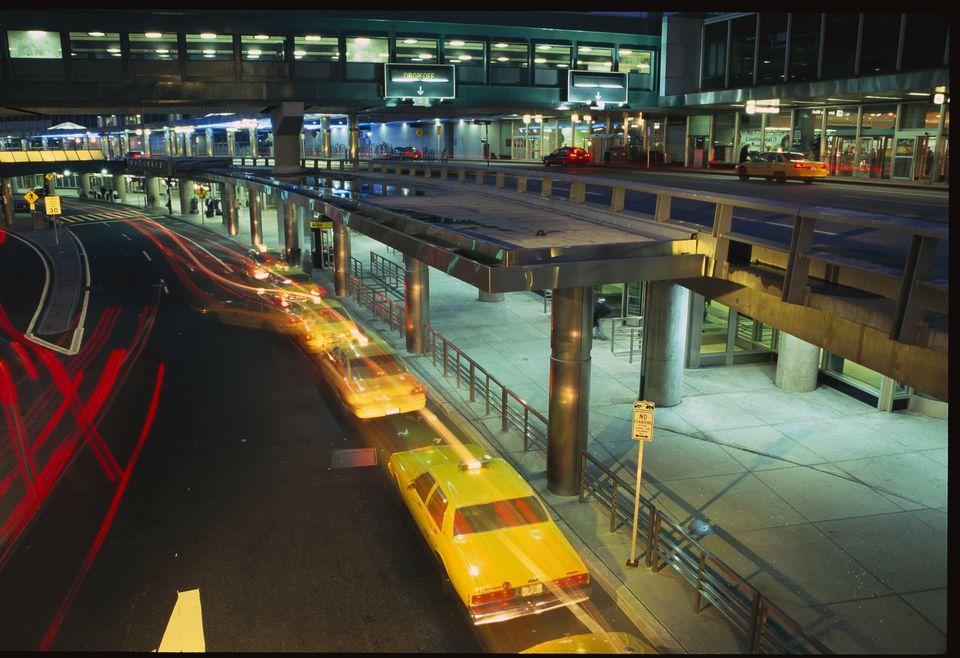 Taxi cabs stationed at Airport Passenger Drop Off