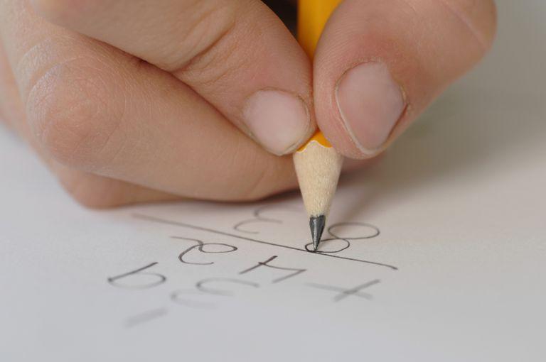 Child Working on Math Problem