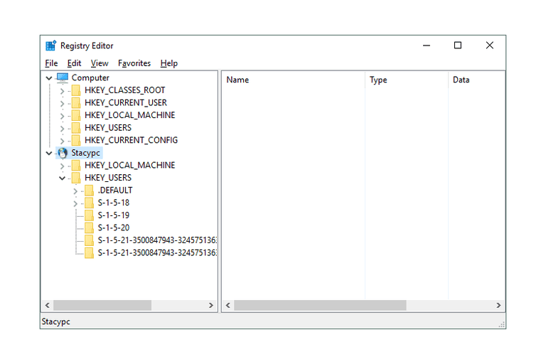 Screenshot of registry editor in Windows 10 connecting to a remote registry