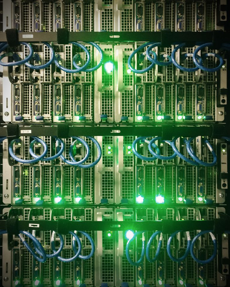 Abstract details of computer servers
