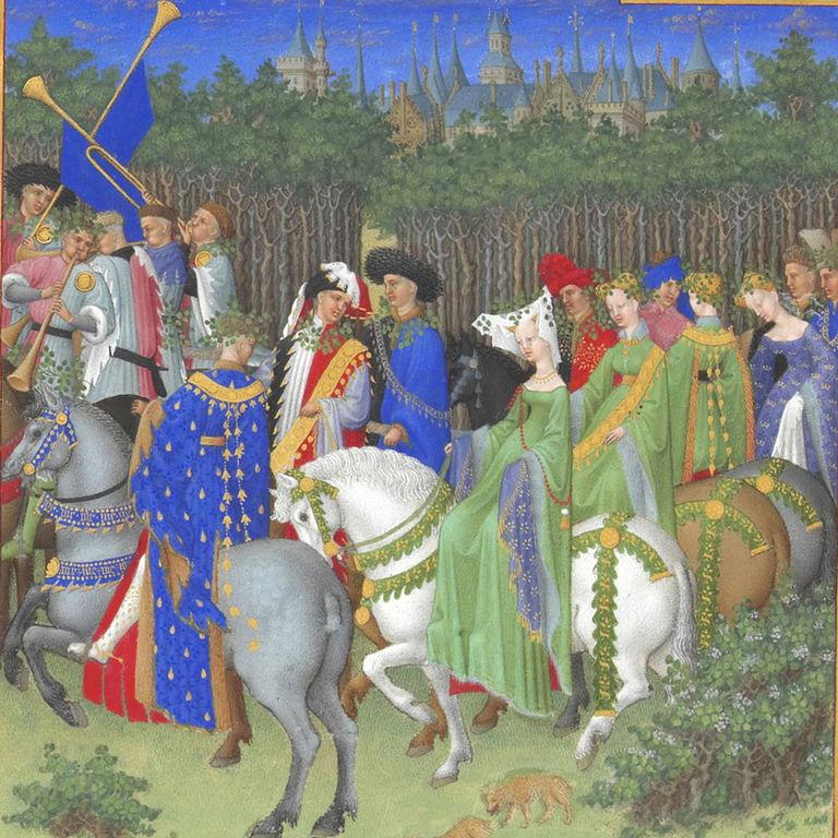Segment of the Calendar page for May of Les Très Riches Heures