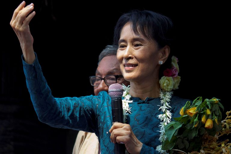 Aung San Suu Kyi, speaking to supporters after her 2010 release