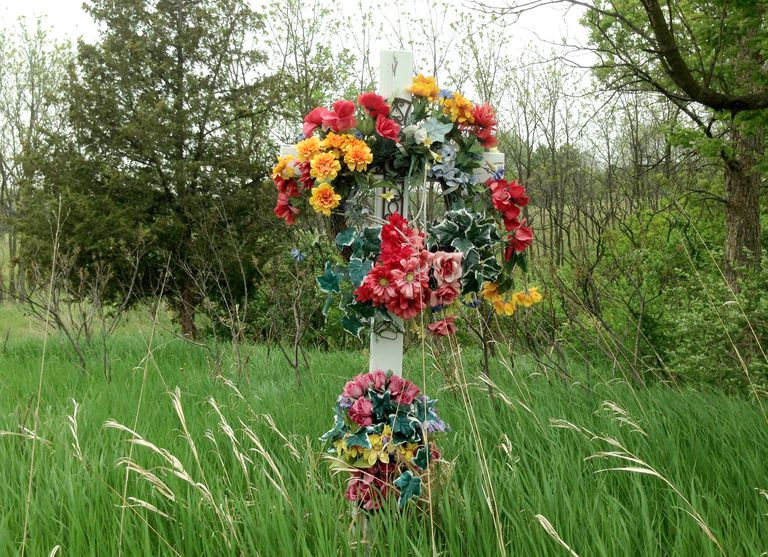 A roadside memorial located east of Baraboo, Wisconsin, along Highway 33.