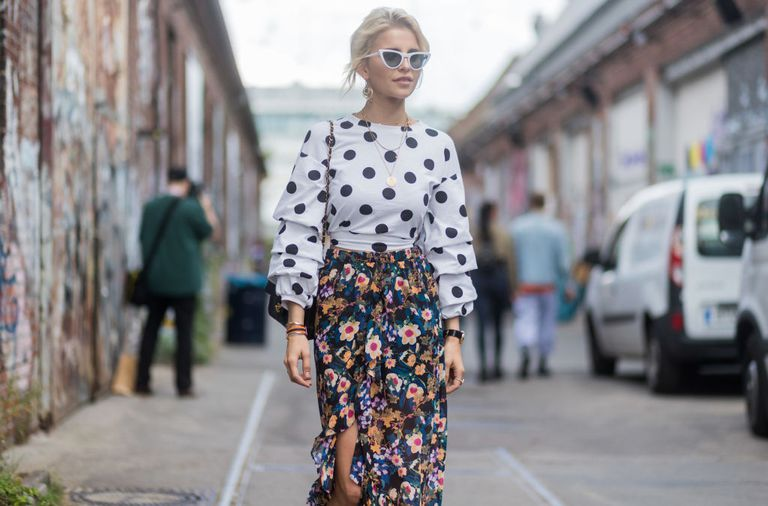 Polka dots and florals outfit