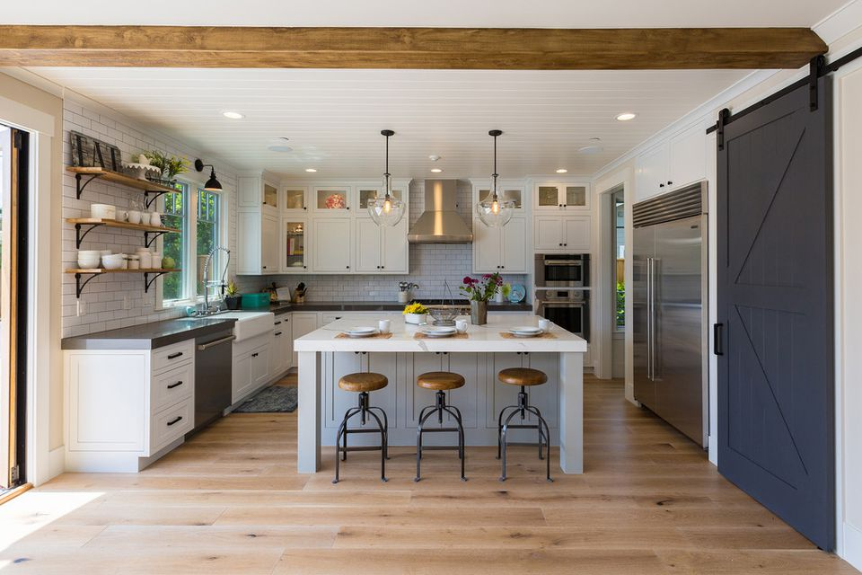 Farmhouse Kitchen Grey Cabinets