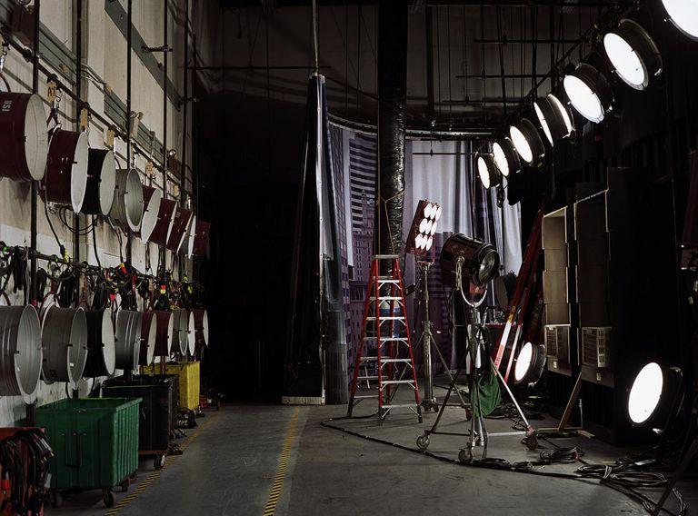 Stage lights behind film set