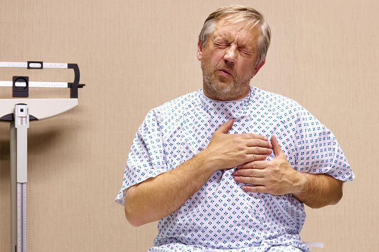 Senior man with chest pains.