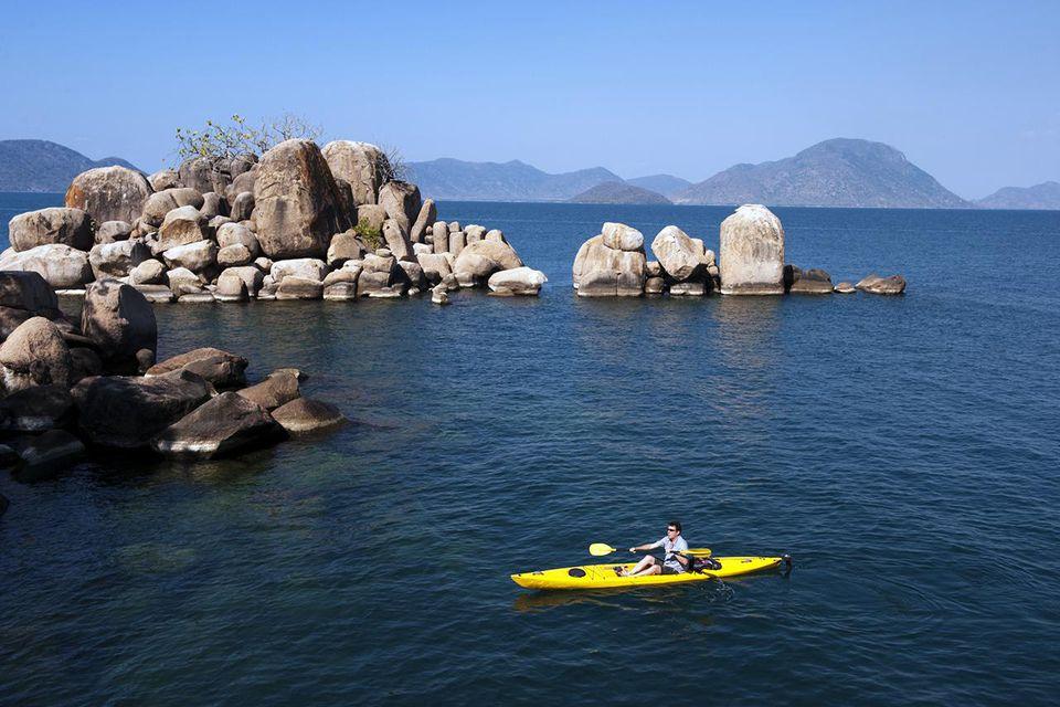 Kayaking at Mumbo Island, Lake Malawi National Park.
